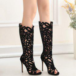 Stiletto Heel Peep Toe Hollow Out Mid-Calf Boots
