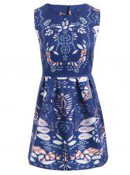 Art Leaf Jacquard Sleeveless Print Dress