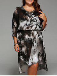 Plus Size Ink Painting Asymmetrical Dress -