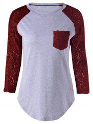 Plus Size Lace Splicing Single Pocket T-Shirt - WINE RED