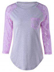 Plus Size Lace Splicing Single Pocket T-Shirt - LIGHT PURPLE