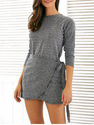 Belt Design Mini Dress - GRAY