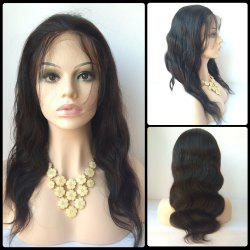 Faddish Long Side Bang Body Wave Lace Front Real Natural Hair Wig - BLACK