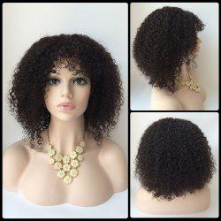 Faddish Short Side Bang Afro Curly Lace Front Real Natural Hair Wig