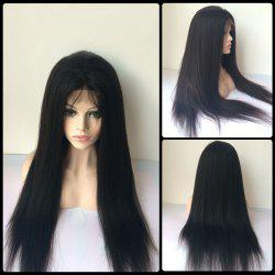 Long Yaki Straight Side Bang Lace Front Real Natural Hair Wig