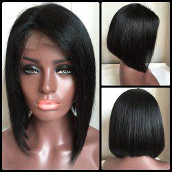 Medium Side Parting Straight Bob Haircut Lace Front Real Natural Hair Wig - BLACK