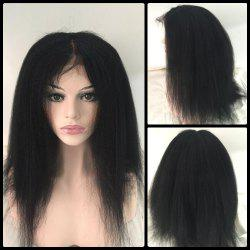 Long Kinky Straight Middle Part Lace Front Real Natural Hair Wig