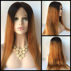 Long Straight Middle Part Double Color Lace Front Real Natural Hair Wig