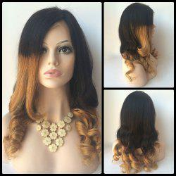 Long Side Parting Wavy Double Color Lace Front Real Natural Hair Wig -