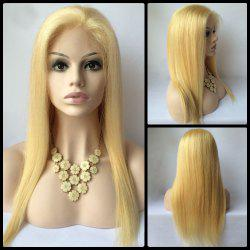 Sparkling Long Straight Lace Front Real Natural Hair Wig -