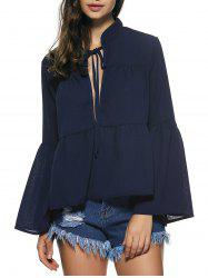 Bell Sleeves Lace Up Flounce Blouse -