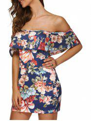 Flounced Floral Print Off The Shoulder Cocktail Dress - DEEP BLUE