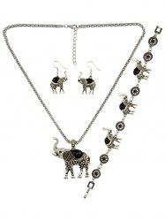 Faux Gem Elephant Necklace Set -