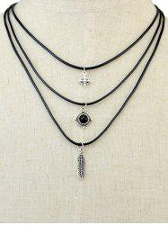 Burnished Feather Faux Gem Layered Necklace -
