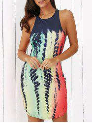 Sleeveless Printed Racerback Fitted Mini Dress