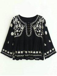 Embroidered Button Design Ruched Blouse -