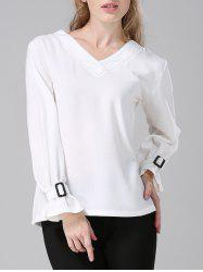 V-Neck Topstitched Loose-Fitting Blouse -