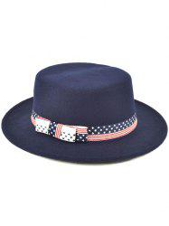 Star Striped Bowknot Flat Top Fedora Hat