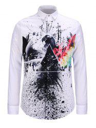 Splatter Paint and Eagle Print Turndown Collar Shirt