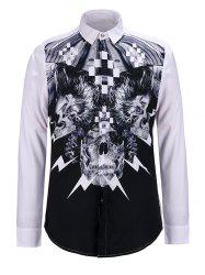 3D Abstract Skulls Print Turn-Down Collar Long Sleeve Shirt