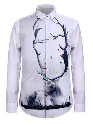 3D Elk Print Turn-Down Collar Long Sleeve Shirt -