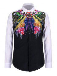 3D Colorful Feather Print Turn-Down Collar Long Sleeve Shirt -