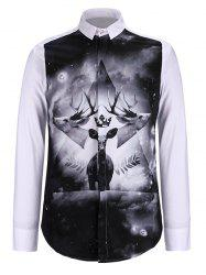 3D Symmetrical Elk Print Turn-Down Collar Long Sleeve Shirt