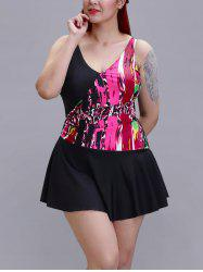 Plus Size Printed One-Piece Swimsuit - Rose  XL
