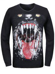 V-Neck 3D Teeth Print Long Sleeve Sweater