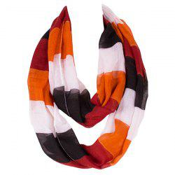 Chic Color Block Stripe Pattern Loop Twist Infinity Voile Scarf -