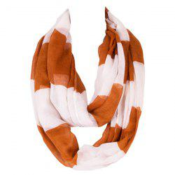 Chic Color Block Stripe Pattern Loop Twist Infinity Voile Scarf