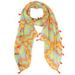 Color Mix Fringe Tassel Knitted Print Voile Scarf -