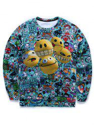 Cartoon 3D Smile Face Imprimer col rond manches longues Sweat manches -