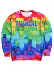 3D Colorful Cube Print Round Neck Long Sleeve Sweatshirt - COLORMIX XL