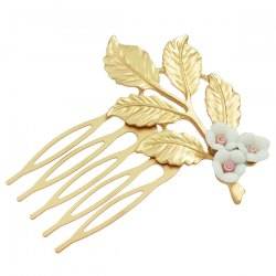 Alloy Flower Leaf Hair Accessory - WHITE