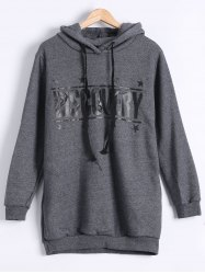 Long Sleeve Letter Print Fleece Hoodie - DEEP GRAY