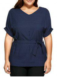Plus Size V Neck Belted Loose Linen Blouse