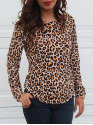 Leopard Print Long Sleeve Round Neck Backless T-Shirt -