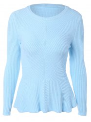 Long Sleeve Slim Fitted Flounce Sweater -