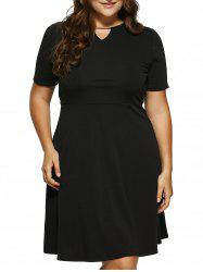 Plus Size Cut Out Fit and Flare Dress - BLACK 5XL