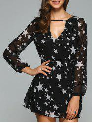 Star Print Hollow Out Chiffon Dress