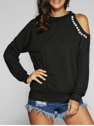 Beading Cut Out Long Sleeve Sweatshirt - BLACK