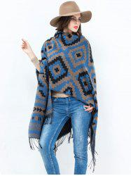Plaid Wave Design Open Front Tassel Pashmina Poncho