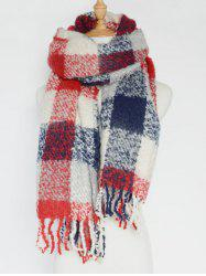Winter Soft Color Bloc Plaid Tassel Châle Pashmina - Rouge Clair