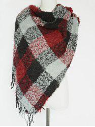 Winter Soft Color Block Plaid Pattern Tassel Wrap Shawl Pashmina