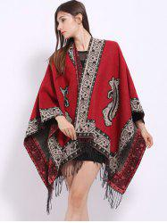 Ethnic Floral Design Tassel Shawl Scarf - RED