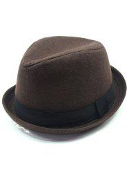 Vintage Embellished Flanging Wool Fedora Hat - COFFEE