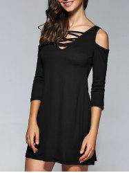 Criss Cross Cold Shoulder Fit and Flare Dress -