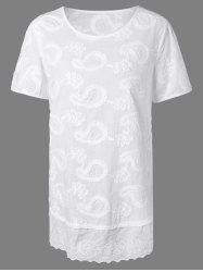 Short Sleeves Embroidered Jacquard T-Shirt -
