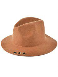 Pure Color Floppy Métal Anneau Charm Jazz Hat - Antique Brun